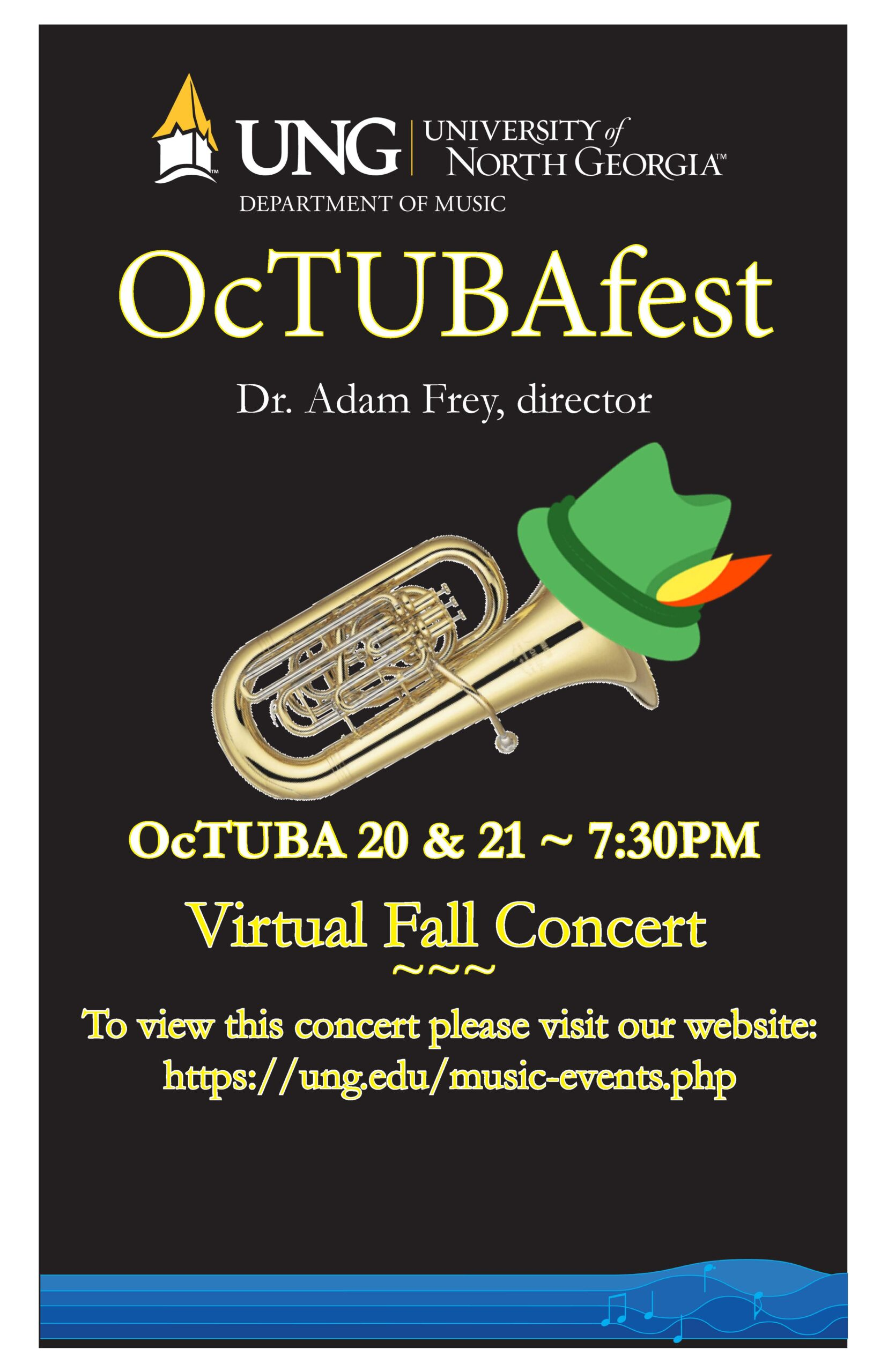 OcTUBAfest. Poster has a tuba wearing a Alpine hat.