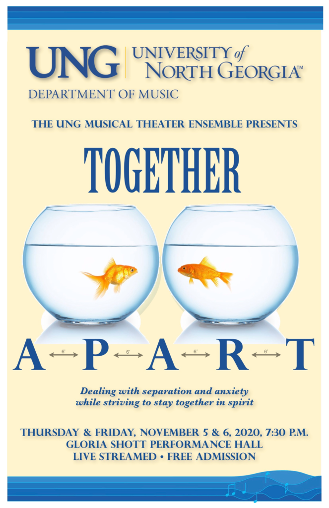 Poster with two fish bowls that are together but separate. It has the title of the program in blue letters. The words APART are symbolically apart with double headed arrows between the letters