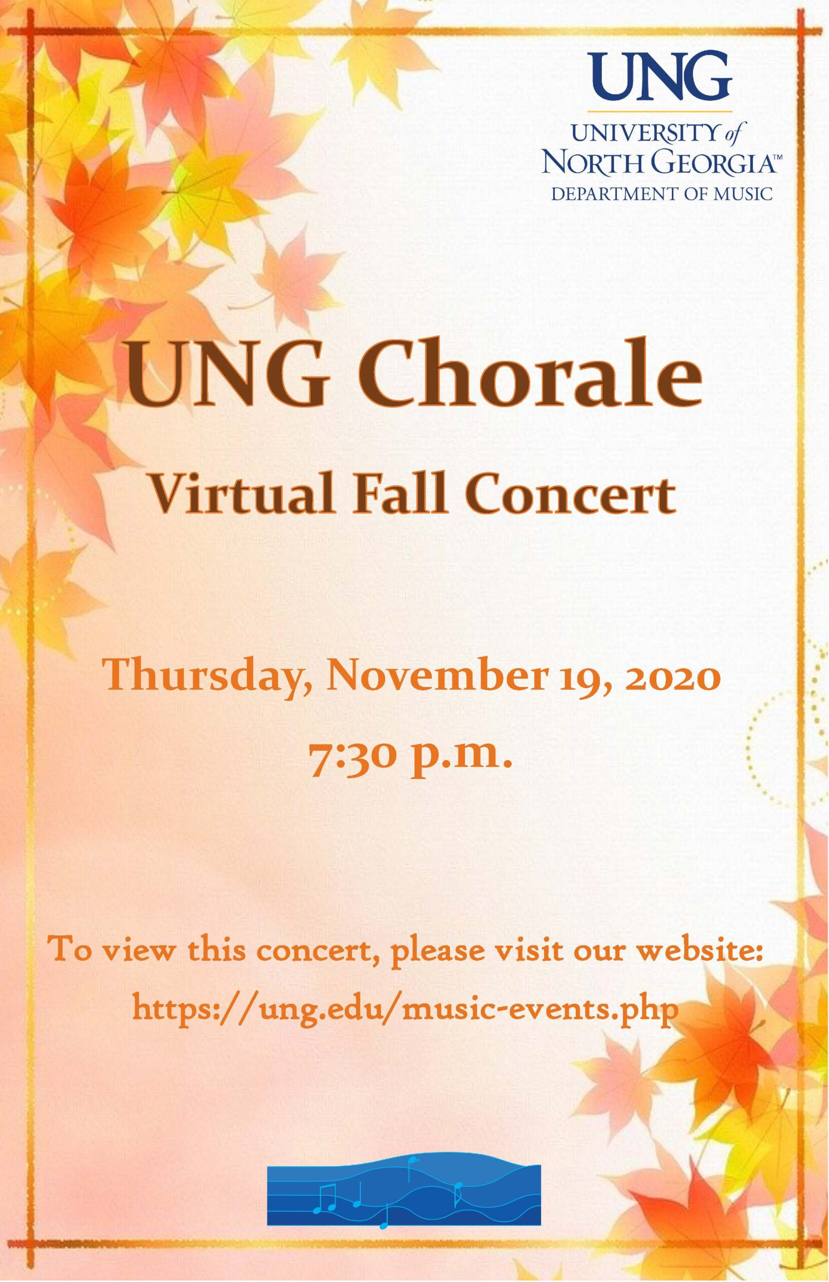 poster for event describing the event. UNG Chorale Virtual Fall Concert